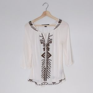 Le Chateau embroidered cream brown summer blouse